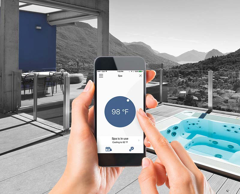 phone with app to control hot tub temperature