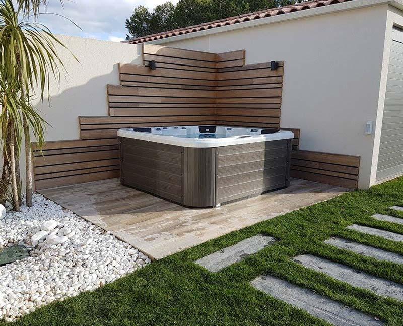hot tub outside a house